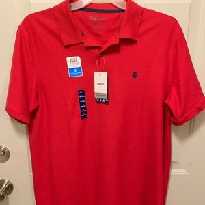 NEW IZOD Polo Shirt RED Men's LARGE